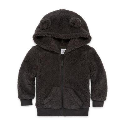 Okie Dokie Sherpa Fleece Teddy Bear Hooded Zip-Up - Baby Boy 3M-24M