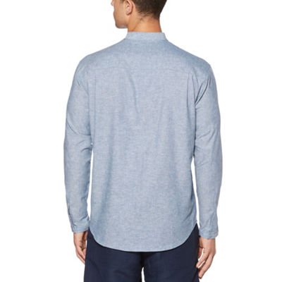 Cubavera Mens Henley Neck Long Sleeve Button-Front Shirt
