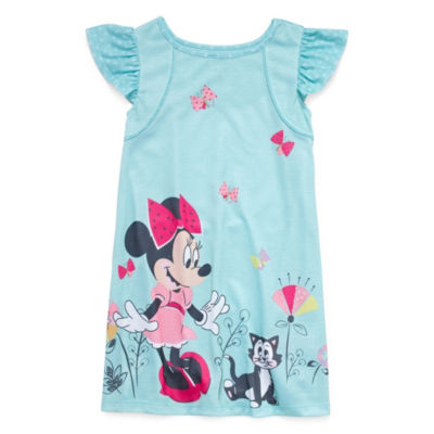 Disney Short Sleeve Round Neck Minnie Mouse Knit Nightshirt - Girls