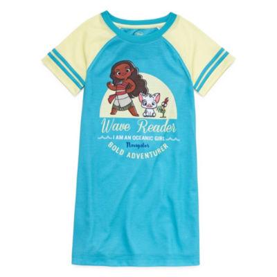 Disney Short Sleeve Round Neck Moana Knit Nightshirt - Girls