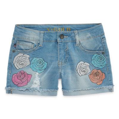 Vgold Denim Shortie Shorts - Big Kid Girls