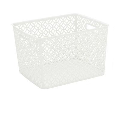 Trellis Storage Tote- White- Large 13.75X11.50X8.75 inches