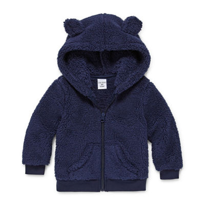 Okie Dokie Sherpa Fleece Hooded Teddy Bear Zip-Up - Baby Boy 3M-24M