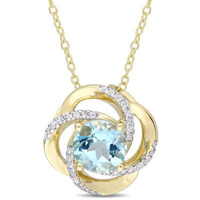Womens Genuine Blue Topaz 18K Gold Over Silver Pendant Necklace
