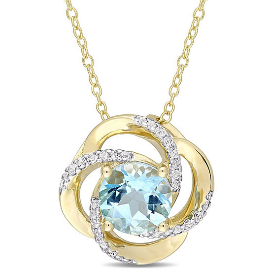 Womens Genuine Blue Topaz 18K Gold Over Silver Pendant Necklace