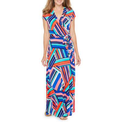 R & K Originals Short Sleeve Pattern Maxi Dress