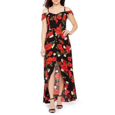 Premier Amour Sleeveless Cold Shoulder Floral Maxi Dress