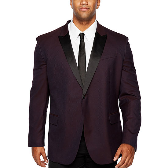 JF J.Ferrar Formal Stretch Burgundy Geo Classic Fit Sport Coat - Big and Tall