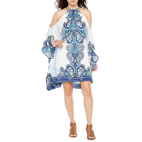 Premier Amour Short Sleeve Applique Shift Dress