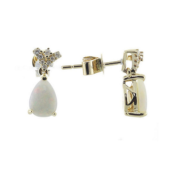 LIMITED QUANTITIES! 1/10 CT. T.W. Genuine White Opal 14K Gold Drop Earrings
