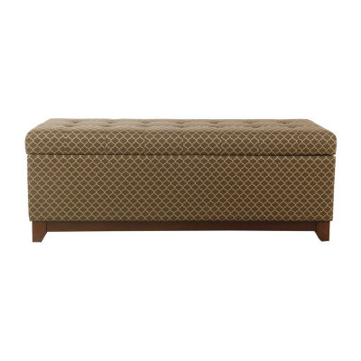 """HomePop 52"""" Large Storage Bench with Wood Apron"""