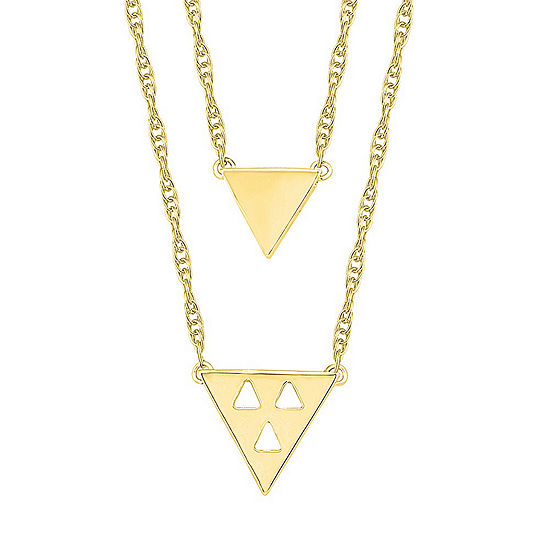 Womens 10k Gold Triangle Pendant Necklace