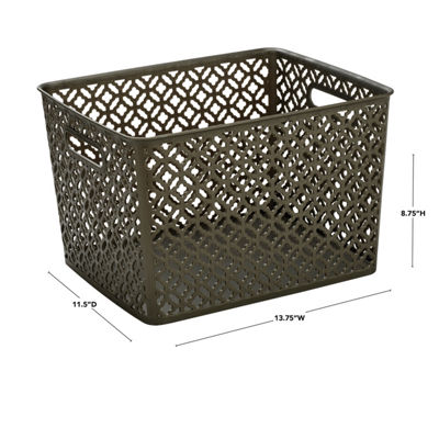 Trellis Storage Tote- Pewter - Large 13.75X11.50X8.75 inches