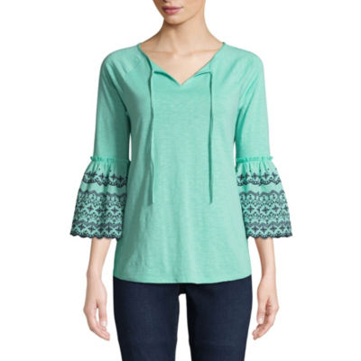 St. John's Bay 3/4 Sleeve Split Crew Neck Slubbed Eyelet Blouse - Tall