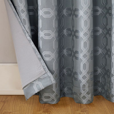 Sun Zero Rowes Woven Trellis Blackout Lined Grommet Curtain Panel