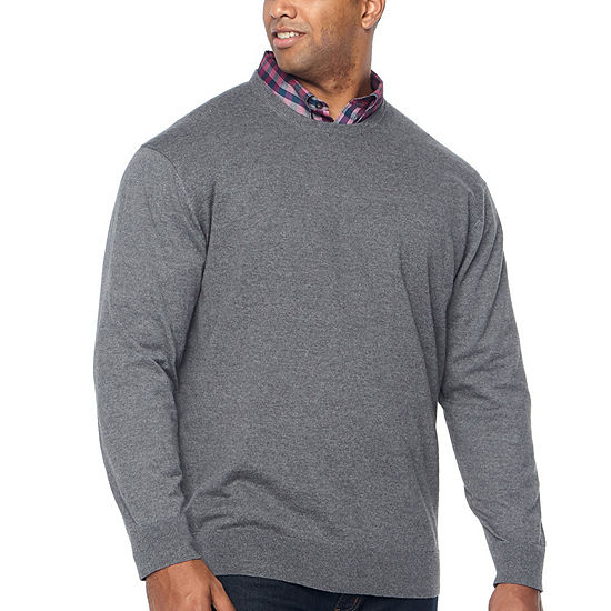 Claiborne - Big and Tall Crew Neck Long Sleeve Pullover Sweater