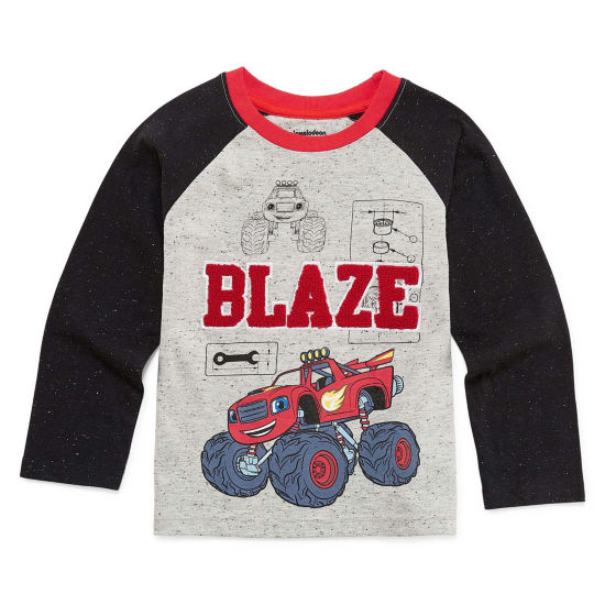 Blaze Long Sleeve Crew Neck T-Shirt-Toddler Boys