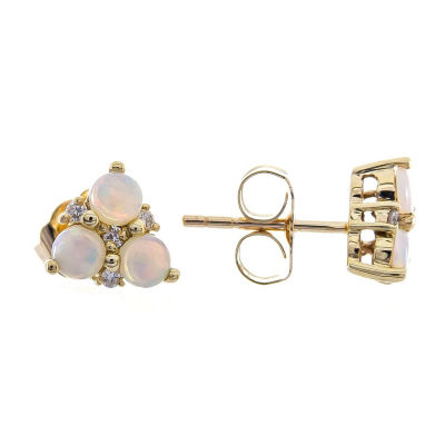 Diamond Accent Genuine White Opal 10K Gold 7mm Stud Earrings