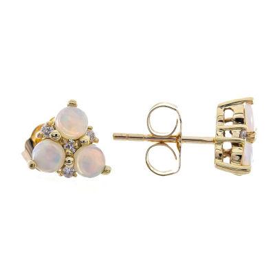 Diamond Accent Genuine White Opal 10K Gold 7mm Stud Earrings