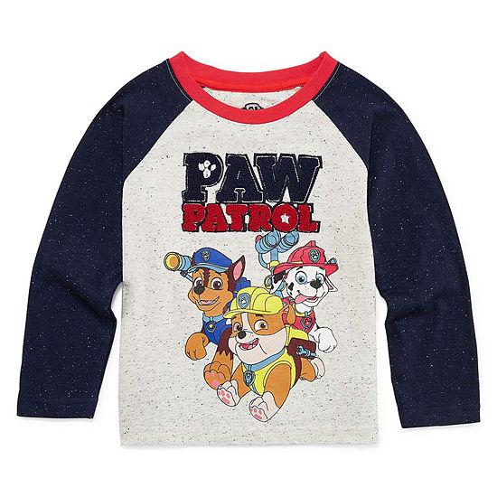 Boys Crew Neck Long Sleeve Applique Paw Patrol T-Shirt-Toddler