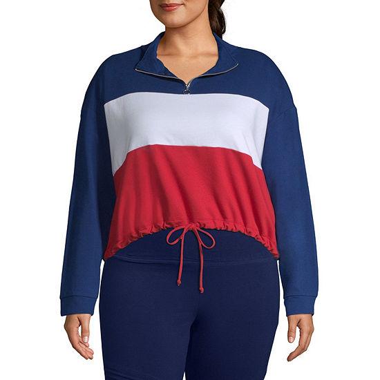 05ec0153364 Flirtitude Womens Collar Neck Long Sleeve Sweatshirt Juniors Plus - JCPenney