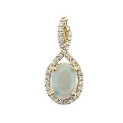 Womens 1/5 CT. T.W. Genuine White Opal 14K Gold Pendant Necklace