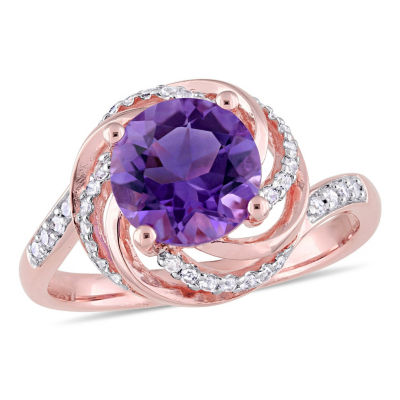 Womens Diamond Accent Genuine Purple Amethyst 18K Rose Gold Over Silver Cocktail Ring