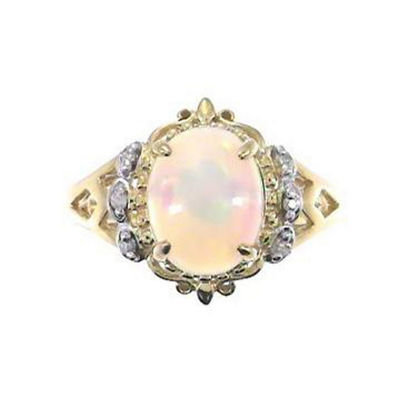 Womens Diamond Accent Genuine White Opal 14K Gold Cocktail Ring