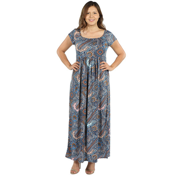 24Seven Comfort Apparel Emilia Blue Paisley Empire Waist Maxi Dress - Plus