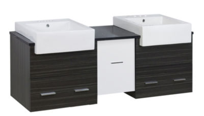 59.5-in. W Wall Mount White-Dawn Grey Vanity Set For 3H4-in. Drilling Black Galaxy Top