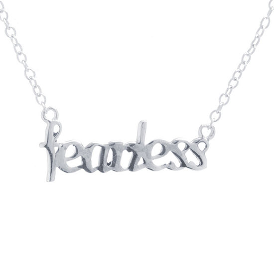 Silver Treasures Fearless Sterling Silver 16 Inch Cable Pendant Necklace
