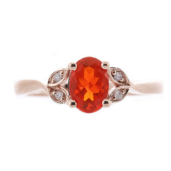 Limited Quantities Womens Diamond Accent Genuine Opal 10k Rose Gold Cocktail Ring
