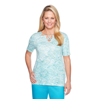 Alfred Dunner Scottsdale Short Sleeve Scoop Neck T-Shirt-Womens
