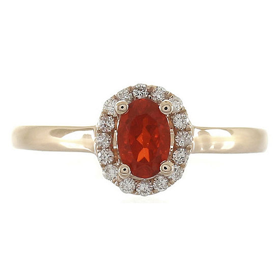 LIMITED QUANTITIES! Womens 1/8 CT. T.W. Genuine Opal 14K Rose Gold Halo Cocktail Ring