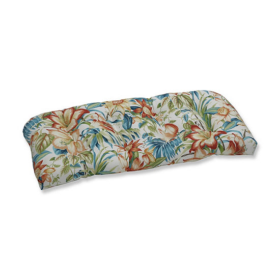 Pillow Perfect Botanical Glow Tiger Lily Wicker Patio Loveseat Cushion