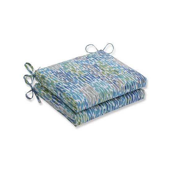 Pillow Perfect Set of 2 Make It Rain Cerulean Squared Corners Patio Seat Cushion