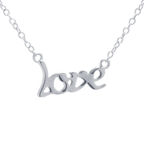 Silver Treasures Love Womens Sterling Silver Pendant Necklace
