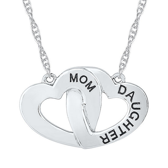 Womens 10K White Gold Heart Pendant Necklace