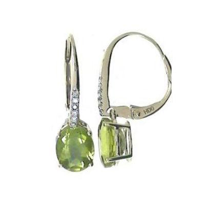 Diamond Accent Genuine Green Peridot 10K Gold 22mm Hoop Earrings