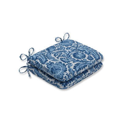 Pillow Perfect Set of 2 Tucker Resist Azure Rounded Corners Patio Seat Cushion
