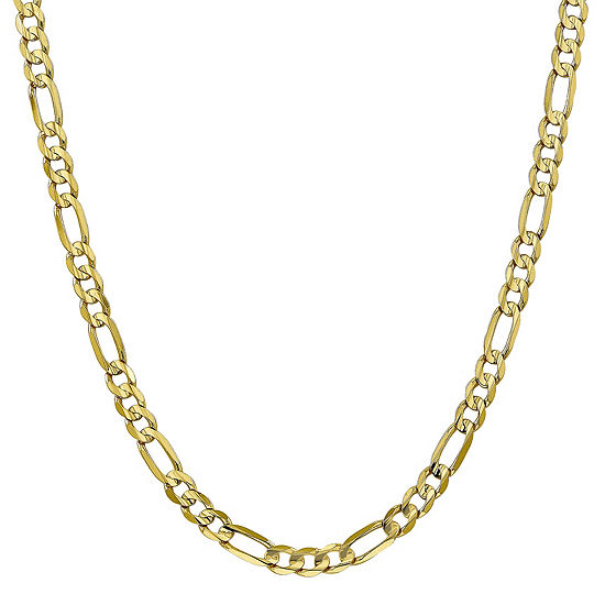 10K Gold 6mm Solid Figaro Chain Necklace