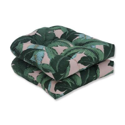 Pillow Perfect Set of 2 Swaying Palms Capri Wicker Patio Seat Cushion