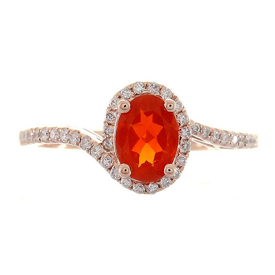 LIMITED QUANTITIES! Womens 1/5 CT. T.W. Genuine Opal 10K Rose Gold Halo Cocktail Ring