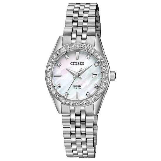 Citizen Womens Silver Tone Stainless Steel Bracelet Watch-Eu6060-55n