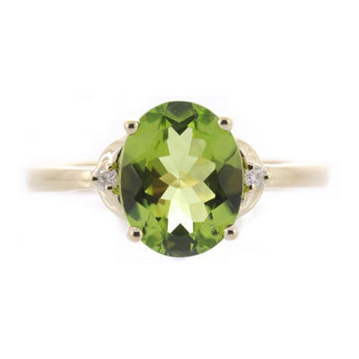 Womens Diamond Accent Genuine Green Peridot 10K Gold Cocktail Ring