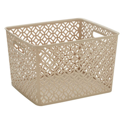 Trellis Storage Tote - Champagne - Large 13.75X11.50X8.75 inches