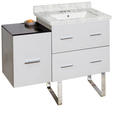 37.75-in. W Floor Mount White Vanity Set For 3H4-in. Drilling Bianca Carara Top White UM Sink