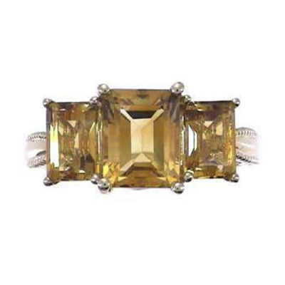 Womens Genuine Orange Citrine 14K Gold 3-Stone Cocktail Ring
