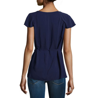 a.n.a Womens V Neck Short Sleeve Woven Blouse
