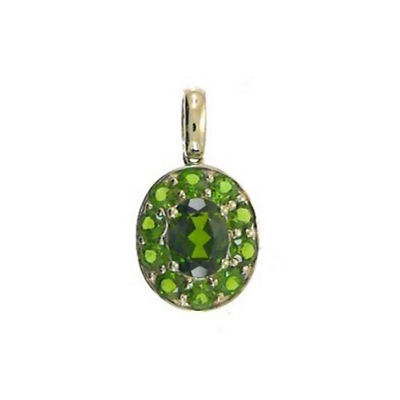 Womens Genuine Green Chrome Diopside 14K Gold Pendant Necklace